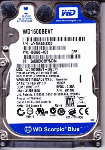 WD1600BEVT-60ZCT1, DCM HBCTJHB, Western Digital 160GB SATA 2.5 Hard Drive