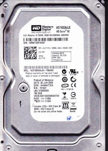 WD1600AAJS-75B4A0, DCM HHNNHT2CA, Western Digital 160GB SATA 3.5 Hard Drive