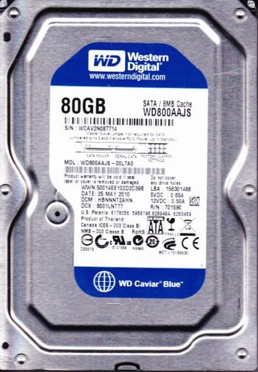 WD800AAJS-00L7A0, DCM HBNNNT2AHN, Western Digital 80GB SATA 3.5 Hard Drive