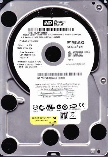 WD7500AAKS-00RBA0, DCM HBRNNA2ABB, Western Digital 750GB SATA 3.5 Hard Drive