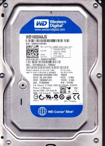 WD1600AAJS-75M0A0, DCM DBNNNTJCH, Western Digital 160GB SATA 3.5 Hard Drive