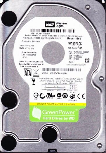 WD10EACS-00D6B1, DCM HBRNHT2CA, Western Digital 1TB SATA 3.5 Hard Drive
