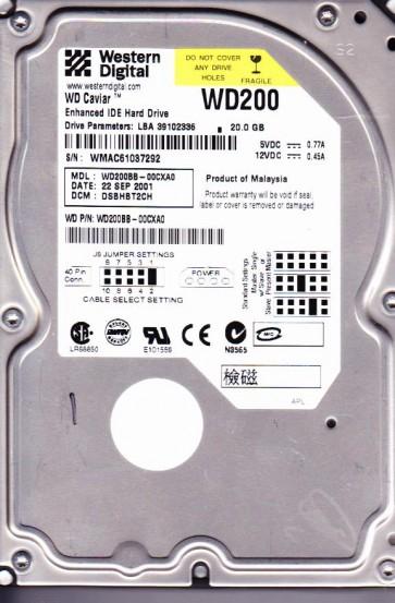 WD200BB-00CXA0, DCM DSBHBT2CH, Western Digital 20GB IDE 3.5 Hard Drive
