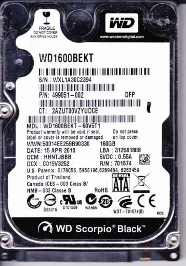 WD1600BEKT-60V5T1, DCM HHNTJBBB, Western Digital 160GB SATA 2.5 Hard Drive
