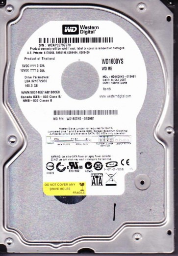 WD1600YS-01SHB1, DCM HSBHNTJAHN, Western Digital 160GB SATA 3.5 Hard Drive
