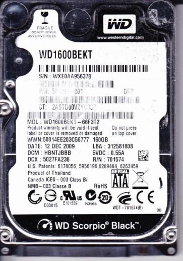 WD1600BEKT-66F3T2, DCM HBNTJBBB, Western Digital 160GB SATA 2.5 Hard Drive