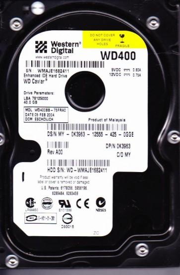 WD400BB-75FRA0, DCM ESCHCVJCH, Western Digital 40GB IDE 3.5 Hard Drive