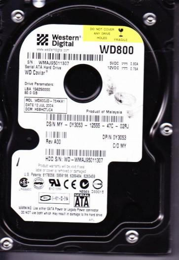 WD800JD-75HKA1, DCM HSBHCTJCA, Western Digital 80GB SATA 3.5 Hard Drive
