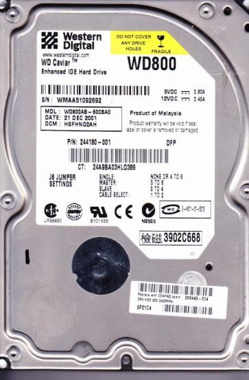 WD800AB-60CBA0, DCM HSFHNQ2AH, Western Digital 80GB IDE 3.5 Hard Drive