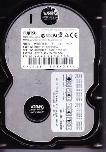 MPD3108AT, PN CA05177-B90500A, Fujitsu 10.7GB IDE 3.5 Hard Drive