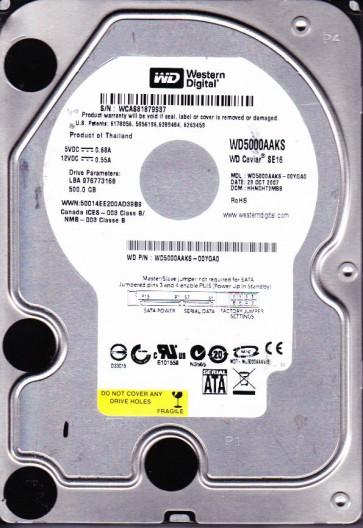 WD5000AAKS-00YGA0, DCM HHNCHT2MBB, Western Digital 500GB SATA 3.5 Hard Drive