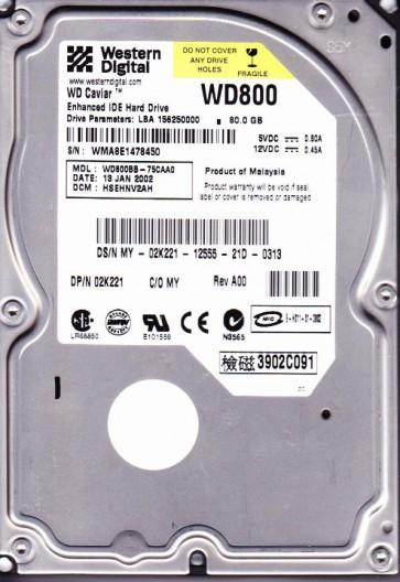 WD800BB-75CAA0, DCM HSEHNV2AH, Western Digital 80GB IDE 3.5 Hard Drive