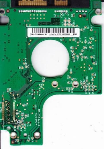 WD2500BEVS-26UST0, 2061-701499-600 AJ, WD SATA 2.5 PCB