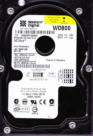 WD800JB-00JJA0, DCM DSBHNAJCA, Western Digital 80GB IDE 3.5 Hard Drive