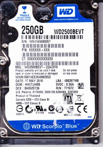 WD2500BEVT-22A23T0, DCM HHCTJHBB, Western Digital 250GB SATA 2.5 Hard Drive
