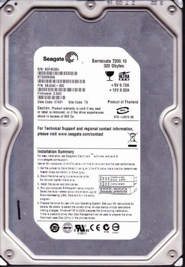 ST3320620A, 9QF, TK, PN 9BJ04G-300, FW 3.AAC, Seagate 320GB IDE 3.5 Hard Drive
