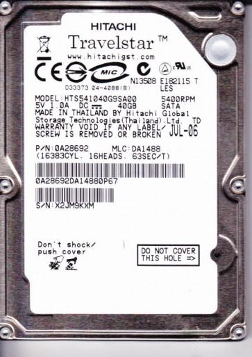 HTS541040G9SA00, PN 0A28692, MLC DA1488, Hitachi 40GB SATA 2.5 Hard Drive