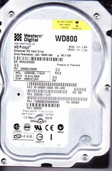 WD800EB-11DJF0, DCM DSBHCTJAH, Western Digital 80GB IDE 3.5 Hard Drive