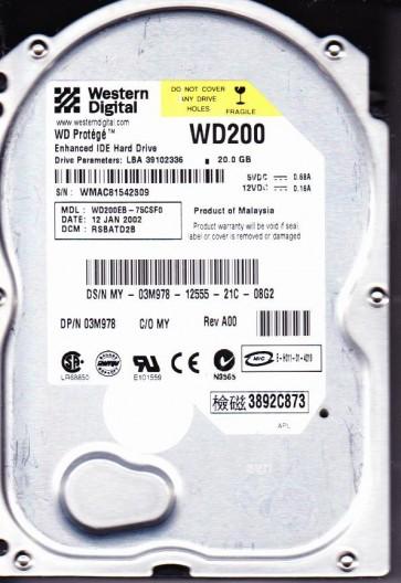 WD200EB-75CSF0, DCM RSBATD2B, Western Digital 20GB IDE 3.5 Hard Drive