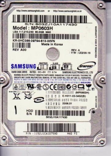 MP0603H, MP0603H, FW UD200, M40 FS, Samsung 60GB IDE 2.5 Hard Drive