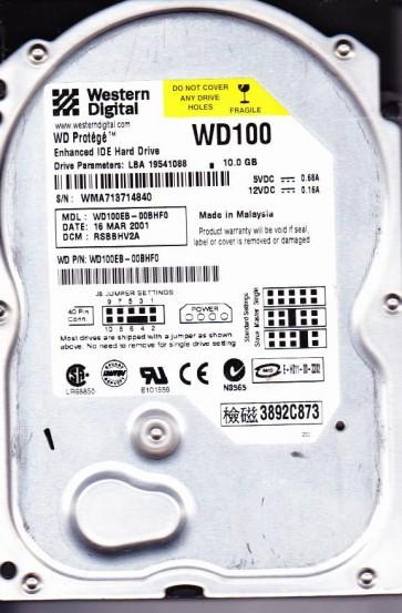 WD100EB-00BHF0, DCM RSBBHV2A, Western Digital 10GB IDE 3.5 Hard Drive