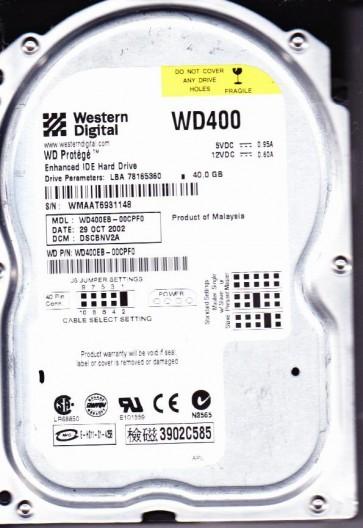 WD400EB-00CPF0, DCM DSCBNV2A, Western Digital 40GB IDE 3.5 Hard Drive