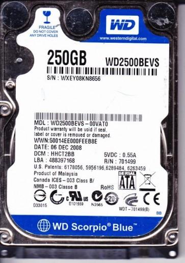 WD2500BEVS-00VAT0, DCM HHCT2BB, Western Digital 250GB SATA 2.5 Hard Drive