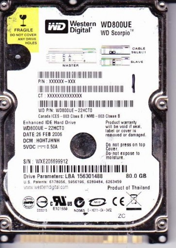 WD800UE-22HCT0, DCM HOHTJHNH, Western Digital 80GB IDE 2.5 Hard Drive
