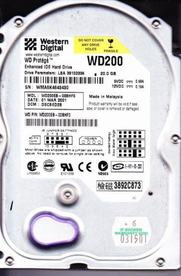 WD200EB-00BHF0, DCM DSCBED2B, Western Digital 20GB IDE 3.5 Hard Drive