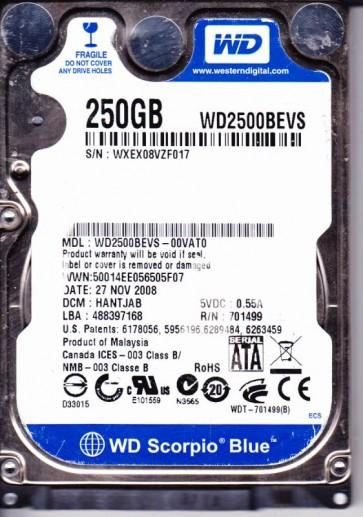 WD2500BEVS-00VAT0, DCM HANTJAB, Western Digital 250GB SATA 2.5 Hard Drive
