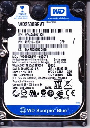 WD2500BEVT-60ZCT1, DCM HHNT2HB, Western Digital 250GB SATA 2.5 Hard Drive