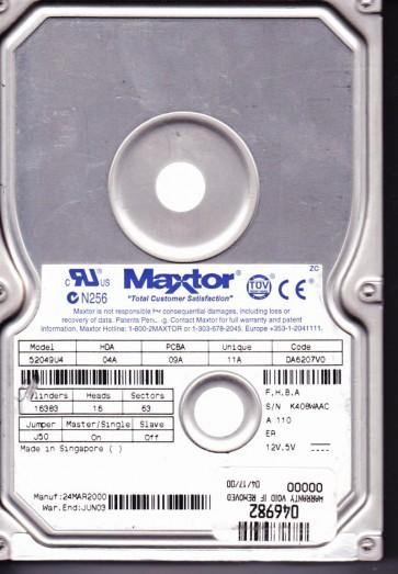 52049U4, Code DA6207V0, FHBA, Maxtor 20GB IDE 3.5 Hard Drive