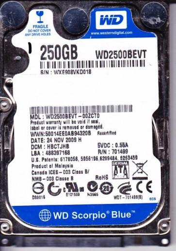 WD2500BEVT-00ZCT0, DCM HBCTJHB, Western Digital 250GB SATA 2.5 Hard Drive