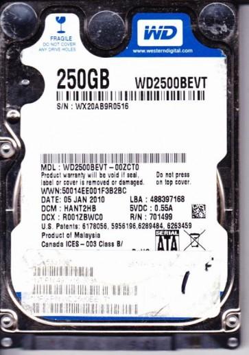 WD2500BEVT-00ZCT0, DCM HANT2HB, Western Digital 250GB SATA 2.5 Hard Drive