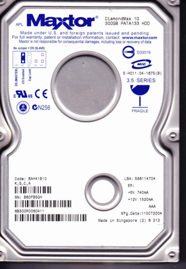 6B300R0, Code BAH41B10, KGCA, Maxtor 300GB IDE 3.5 Hard Drive