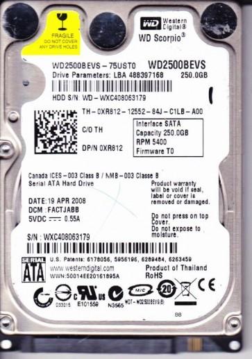 WD2500BEVS-75UST0, DCM FACTJABB, Western Digital 250GB SATA 2.5 Hard Drive