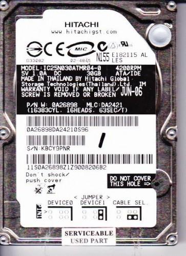 IC25N030ATMR04-0, PN 0A26898, MLC DA2421, Hitachi 30GB IDE 2.5 Hard Drive