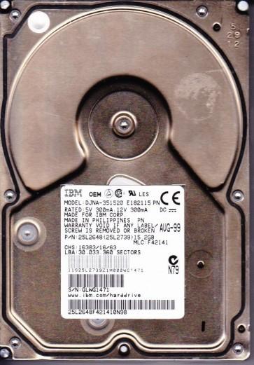 DJNA-351520, PN 25L2648, MLC F42141, IBM 15.2GB IDE 3.5 Hard Drive