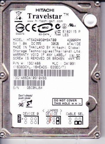 HTS424030M9AT00, PN 13G1486, MLC DA1091, Hitachi 30GB IDE 2.5 Hard Drive