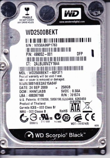 WD2500BEKT-60F3T1, DCM HHNTJABB, Western Digital 250GB SATA 2.5 Hard Drive