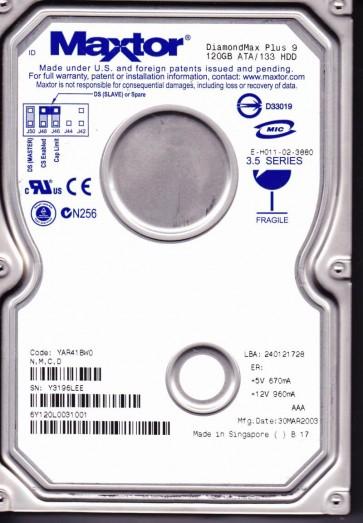 6Y120L0, Code YAR41BW0, NMCD, Maxtor 120GB IDE 3.5 Hard Drive