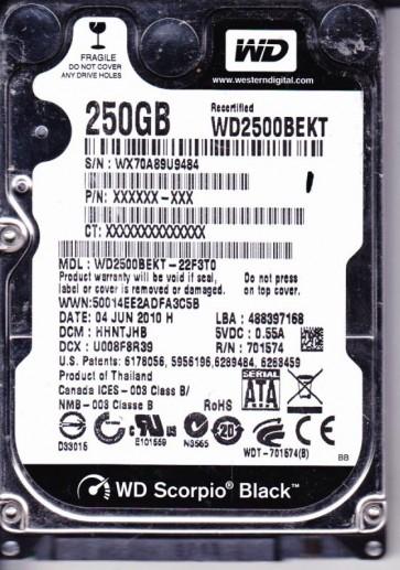 WD2500BEKT-22F3T0, DCM HHNTJHB, Western Digital 250GB SATA 2.5 Hard Drive