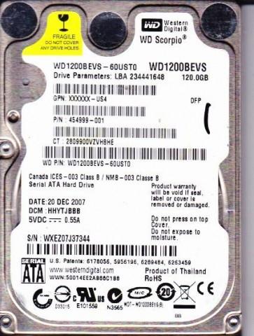 WD1200BEVS-60UST0, DCM HHYTJBBB, Western Digital 120GB SATA 2.5 Hard Drive