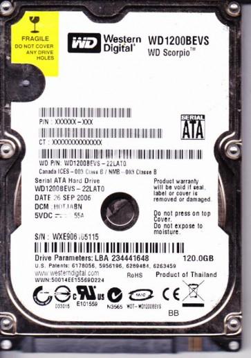 WD1200BEVS-22LAT0, DCM HOTJABN, Western Digital 120GB SATA 2.5 Hard Drive