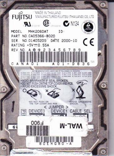 MHK2060AT, PN CA05366-B020, Fujitsu 6GB IDE 2.5 Hard Drive