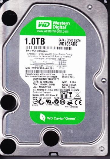 WD10EADS-00L5B1, DCM HHNNNT2MAN, Western Digital 1TB SATA 3.5 Hard Drive
