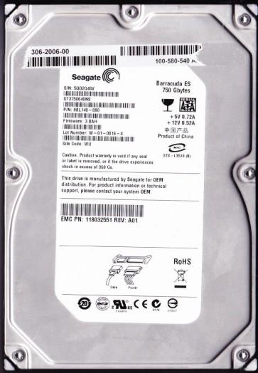 ST3750640NS, 5QD, WU, PN 9BL148-090, FW 3.BAH, Seagate 750GB SATA 3.5 Hard Drive