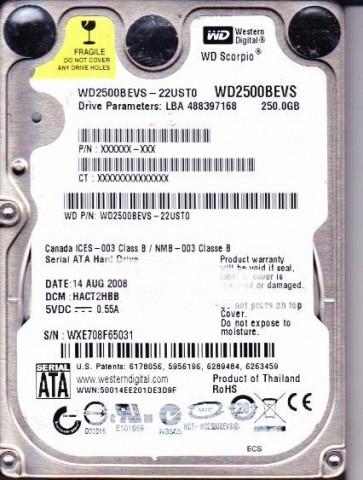 WD2500BEVS-22UST0, DCM HACT2HBB, Western Digital 250GB SATA 2.5 Hard Drive