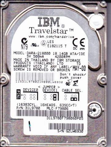 DARA-218000, PN 31L9780, MLC F79806, IBM 18.1GB IDE 2.5 Hard Drive