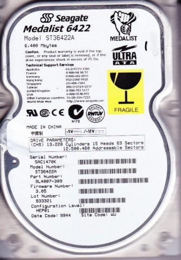ST36422A, 5AC, WU, PN 9L4007-309, FW 3.05, Seagate 6.4GB IDE 3.5 Hard Drive